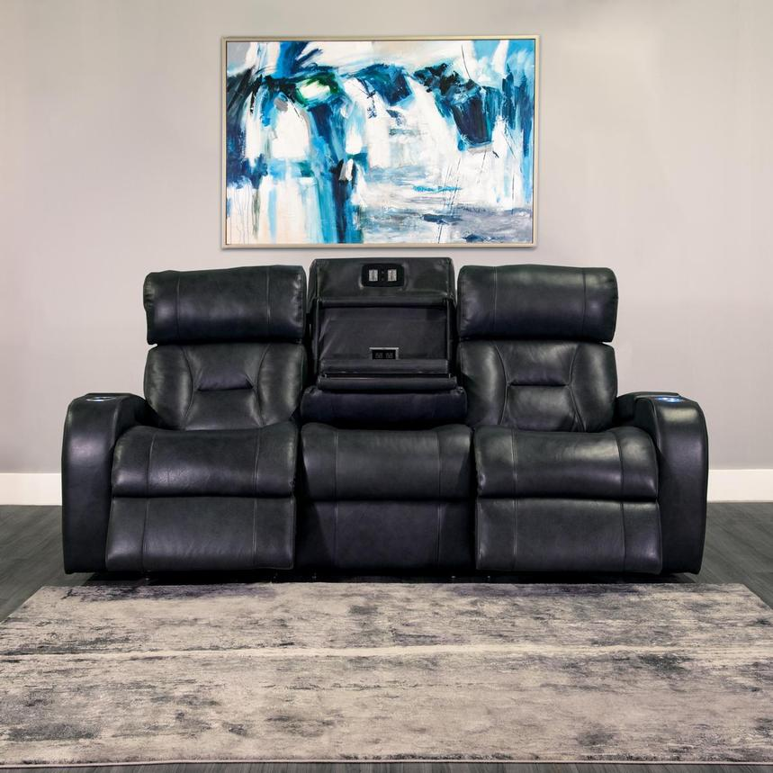 Gio Gray Leather Power Reclining Sofa w/Console  alternate image, 2 of 15 images.