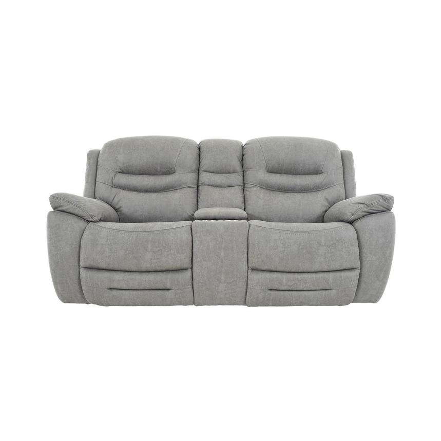 Dan Gray Power Reclining Sofa w/Console  main image, 1 of 12 images.