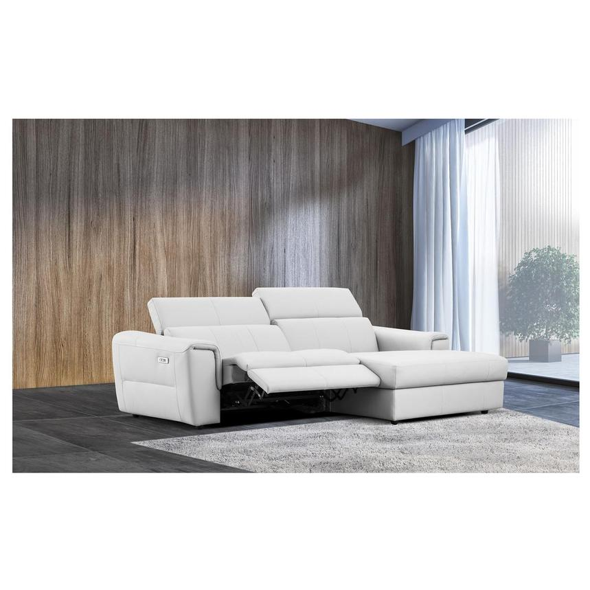 Sofextra White Leather Power Reclining Sofa w/Right Chaise  alternate image, 3 of 16 images.