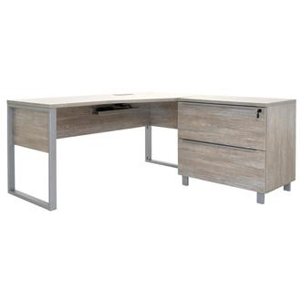 Flavia Gray L-Shaped Desk