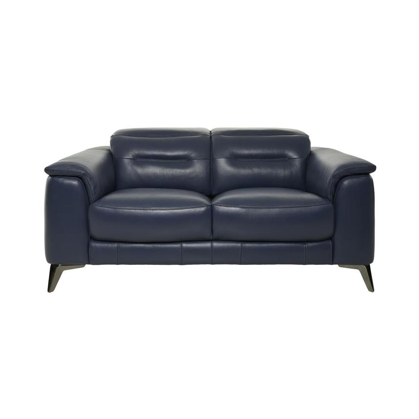 Anabel Blue Leather Loveseat  main image, 1 of 10 images.