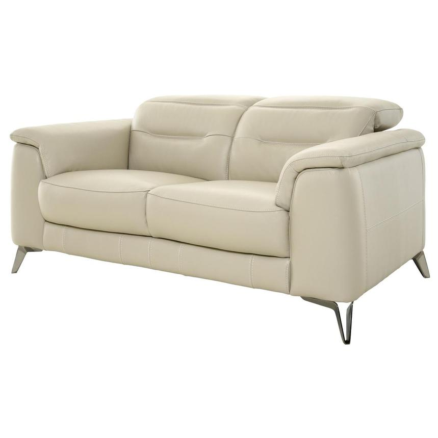 Anabel Cream Leather Loveseat  alternate image, 2 of 11 images.