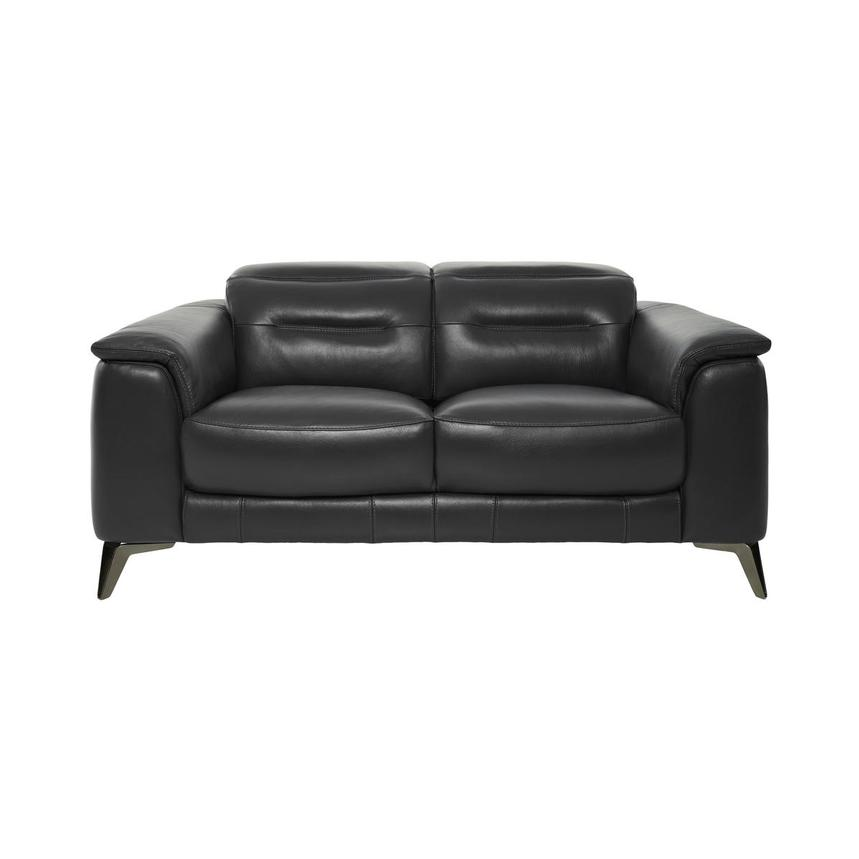 Anabel Gray Leather Loveseat  main image, 1 of 10 images.