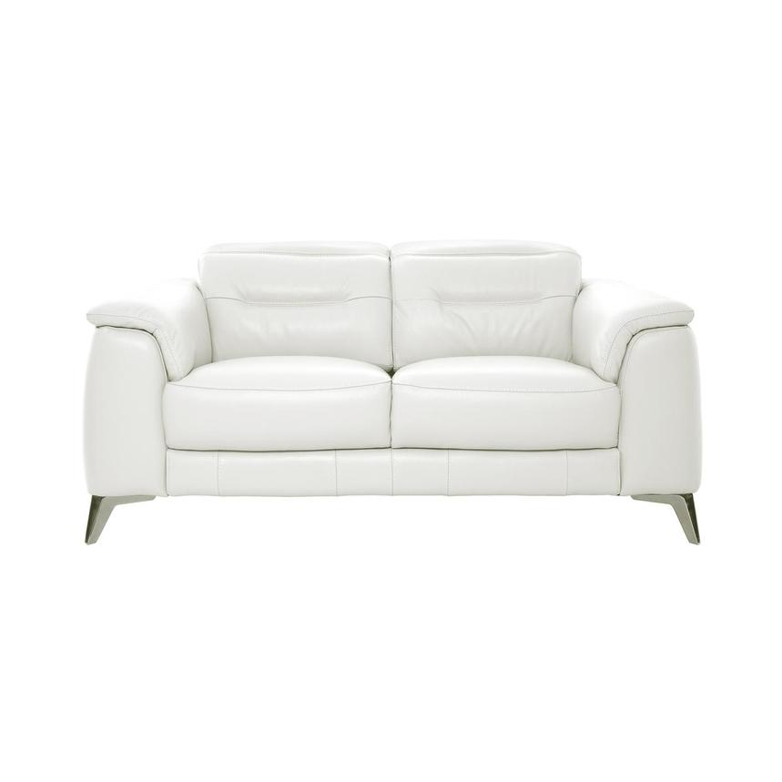 Anabel White Leather Loveseat  main image, 1 of 10 images.