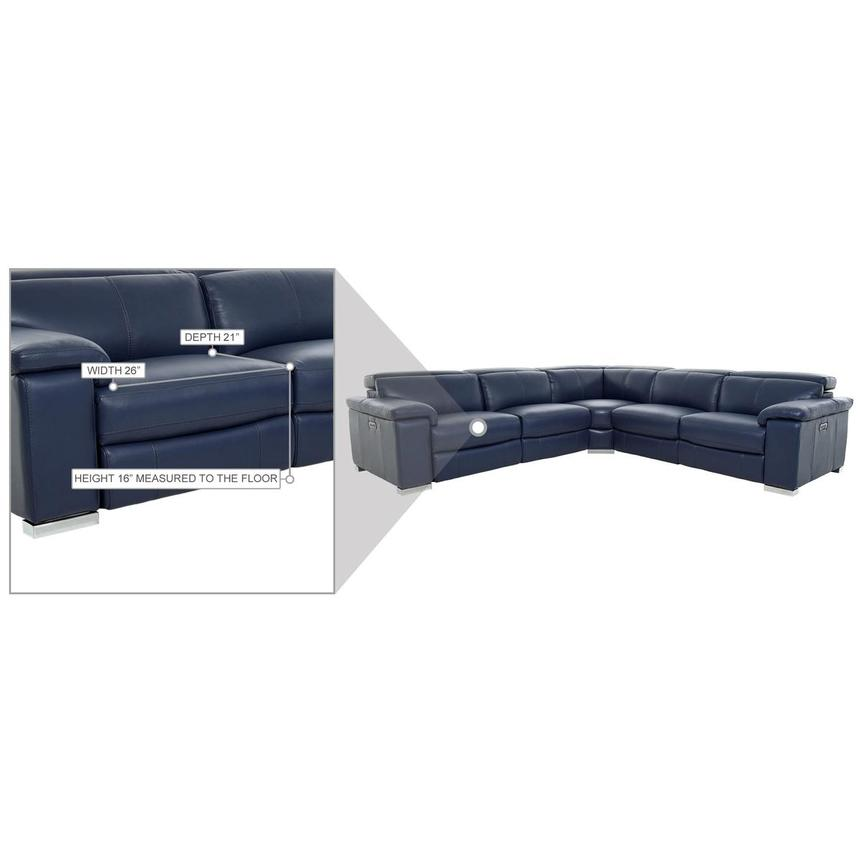 Charlie Blue Leather Power Reclining Sectional  alternate image, 10 of 10 images.