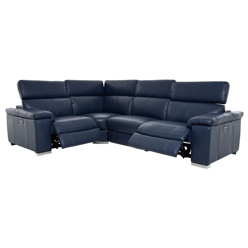 Charlie Blue Leather Power Reclining Sectional  alternate image, 2 of 10 images.