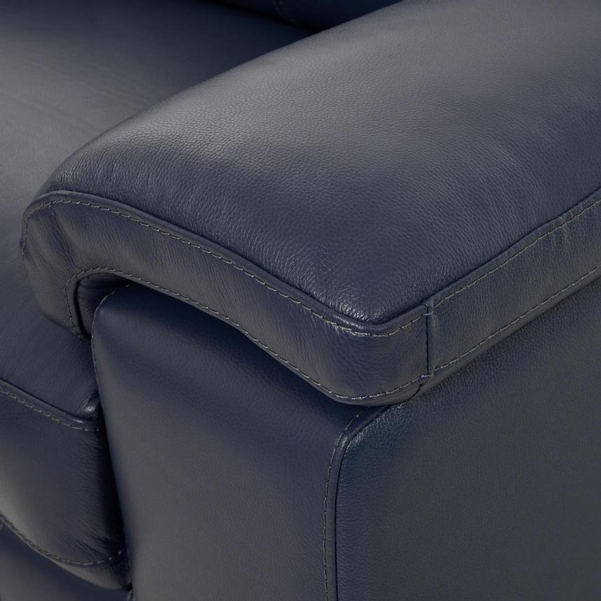 Charlie Blue Leather Power Reclining Sectional  alternate image, 7 of 10 images.