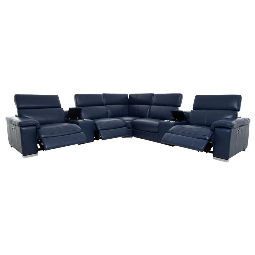Charlie Blue Leather Power Reclining Sectional  alternate image, 2 of 11 images.