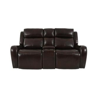 Jake Brown Leather Power Reclining Sofa w/Console