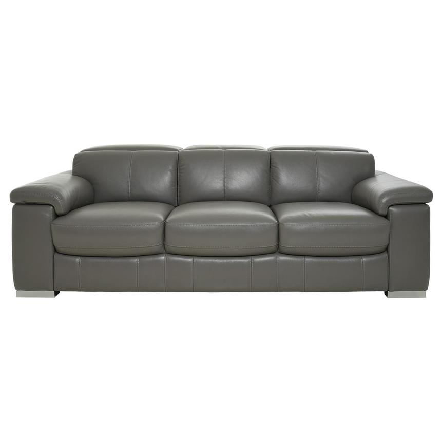 Charlie Gray Leather Sofa  main image, 1 of 10 images.