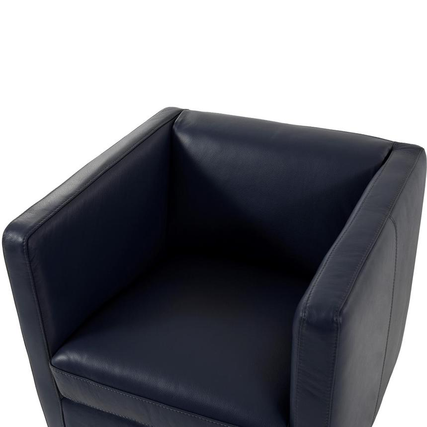 Cute Blue Leather Swivel Chair w/2 Pillows  alternate image, 7 of 11 images.