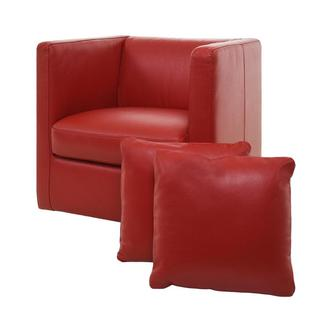 Cute Red Leather Swivel Chair w/2 Pillows