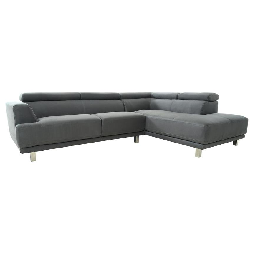 Ilias Gray Corner Sofa w/Right Chaise  alternate image, 3 of 10 images.