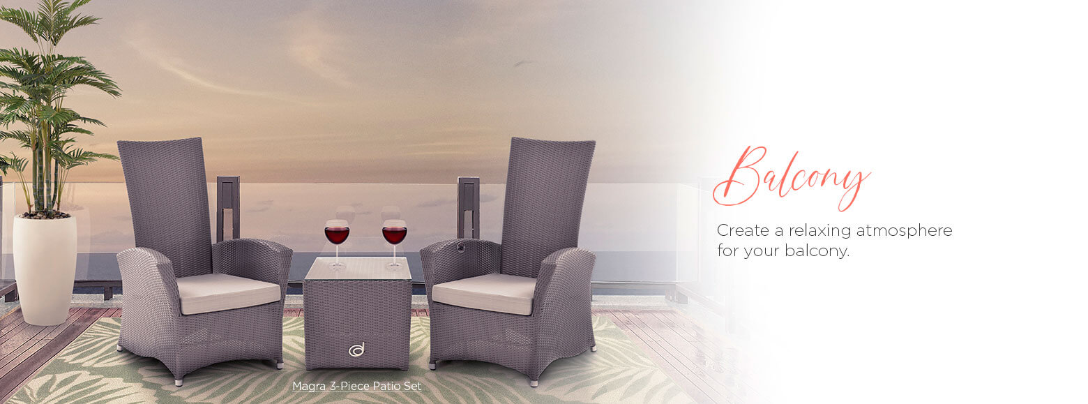 Balcony. create a relaxing atmosphere for your balcony. Magra three piece patio set.