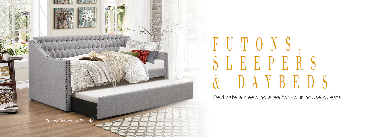 Futons Sleepers and Daybeds. Dedicate a sleeping area for your house guests. Tulney Daybed with Trundle.