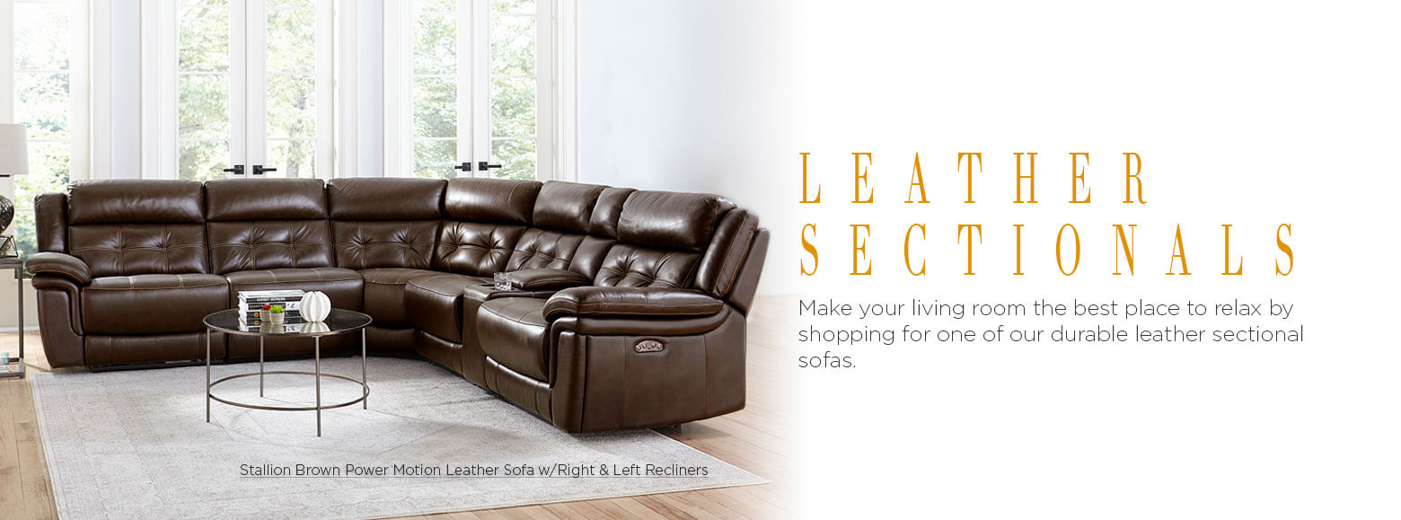 Leather sectionals. Make your living room the best place to relax by shopping for one of our durable leather sectional sofas. Stallion Brown Power Motion Leather Sofa with Right & Left Recliners.