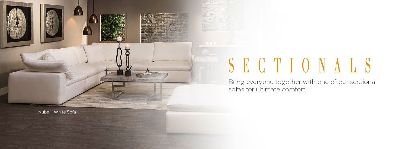 Sectionals. Bring everyone together with one of our sectional sofas for ultimate comfort. Nube II White Sofa.