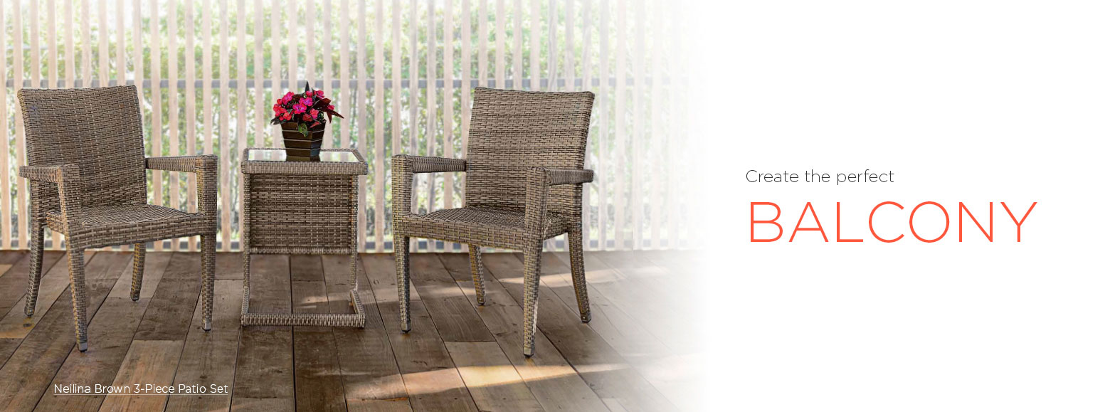 Create the perfect balcony. Neilina brown three piece patio set.