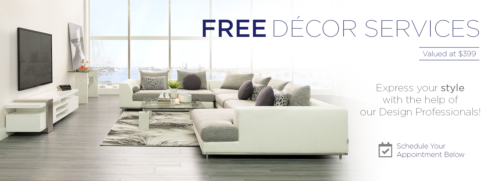Free décor service. Receive a $50 furniture card. Schedule an appointment online to receive your free furniture card.